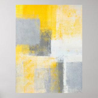 """Arte abstracto gris y amarillo de la """"caja de póster"""