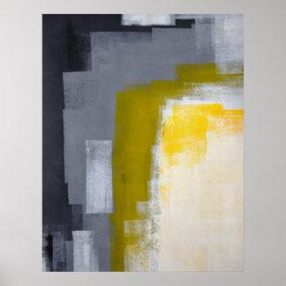 """Arte abstracto gris y amarillo de la """"fiesta de póster"""