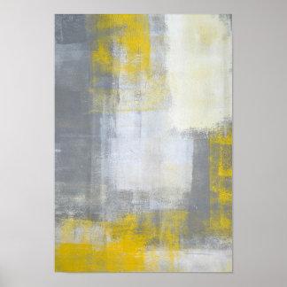 """Arte abstracto gris y amarillo """"de moda"""" póster"""