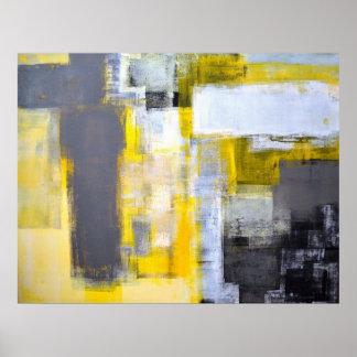 """Arte abstracto gris y amarillo """"ocupado, ocupado"""" póster"""