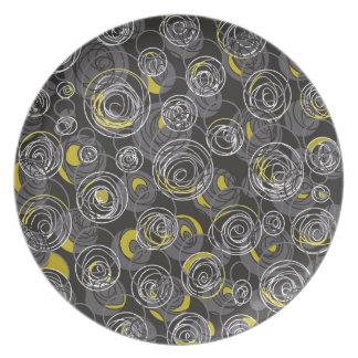 Arte abstracto gris y amarillo plato para fiesta