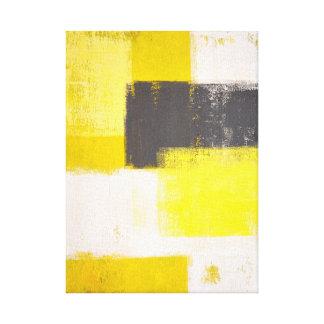 """Arte abstracto gris y amarillo """"simplemente lienzo envuelto para galerías"""