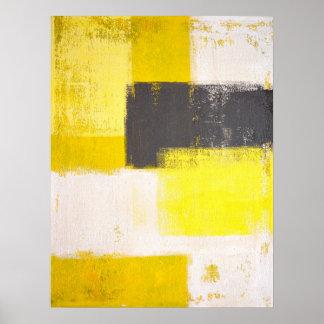"""Arte abstracto gris y amarillo """"simplemente póster"""