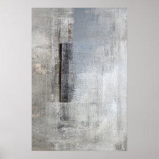 """Arte abstracto gris y beige del """"solitario total"""" póster"""