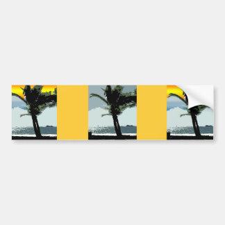 Arte abstracto hawaiano de la palma y de la puesta pegatina para auto