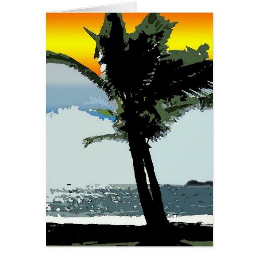 Arte abstracto hawaiano de la palma y de la puesta tarjeta