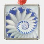Arte abstracto hermoso de Shell del mar azul y Adorno Cuadrado Plateado