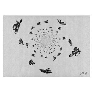 """Arte abstracto loco de la raza de bicicleta """" tablas para cortar"""