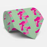 Arte abstracto magenta rosado del verde y de la corbata personalizada