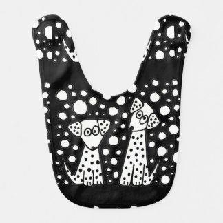 Arte abstracto manchado divertido de los perros de babero para bebé