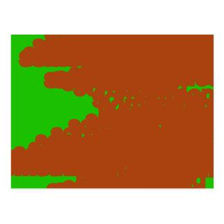 arte abstracto marrón y verde postal