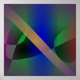 Arte abstracto moderado y primitivo púrpura oscuro poster
