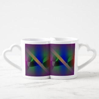 Arte abstracto moderado y primitivo púrpura oscuro taza para enamorados