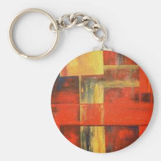 Arte abstracto moderno de la pintura de la lona llavero redondo tipo pin