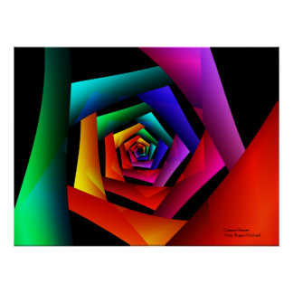 Arte abstracto moderno fresco lindo de la flor póster