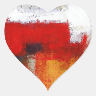 Arte abstracto moderno pegatina en forma de corazón