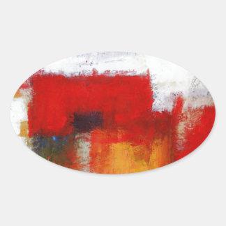 Arte abstracto moderno pegatina ovalada