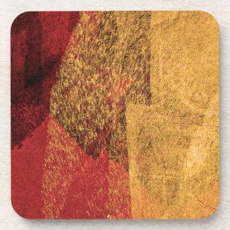 Arte abstracto negro amarillo rojo de la brocha posavasos de bebidas