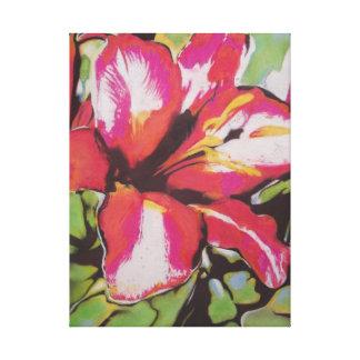 Arte abstracto original de la flor roja del lirio lienzo envuelto para galerías