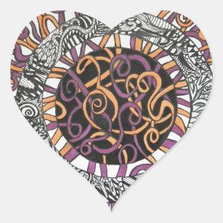 Arte abstracto pequeño y enredado calcomanía corazón personalizadas