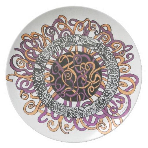 Arte abstracto pequeño y enredado plato para fiesta