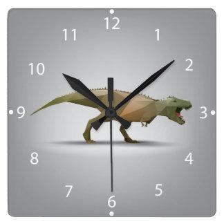 Arte abstracto poligonal de Rex del Tyrannosaurus Reloj Cuadrado