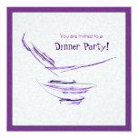 Arte abstracto púrpura del cuenco de arroz invitacion personal