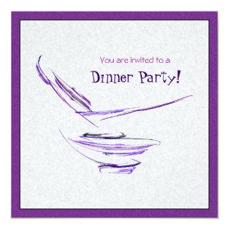 """Arte abstracto púrpura del cuenco de arroz invitación 5.25"""" x 5.25"""""""