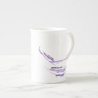 Arte abstracto púrpura del cuenco de arroz taza de porcelana