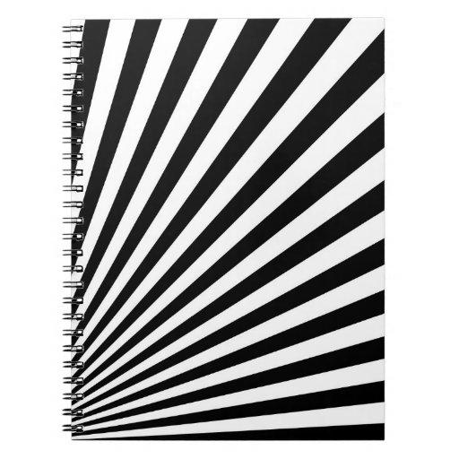 Arte abstracto rayado enrrollado blanco y negro spiral notebooks