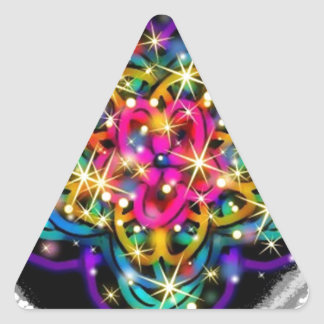 Arte abstracto reluciente del caleidoscopio pegatina triangular