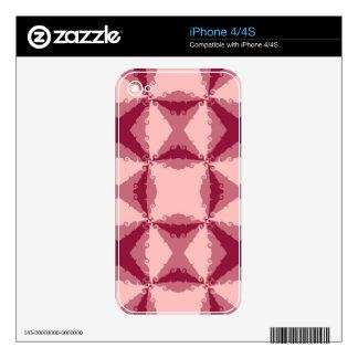 Arte abstracto retro del remolino floral rosado de iPhone 4 skins