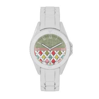 Arte abstracto retro hermoso reloj de mano