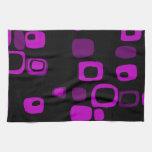 Arte abstracto retro negro, púrpura, violeta toalla de mano