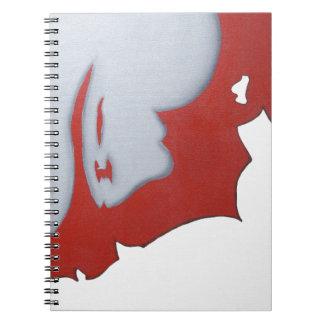 Arte abstracto rojo blanco y gris libreta espiral
