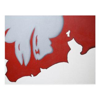 Arte abstracto rojo blanco y gris postal