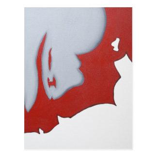 Arte abstracto rojo blanco y gris tarjetas postales