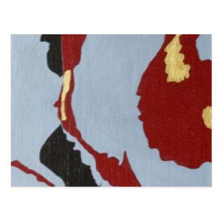 Arte abstracto rojo negro y gris postal