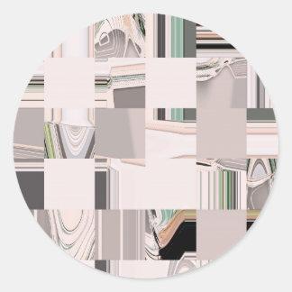 Arte abstracto tejado pegatina redonda