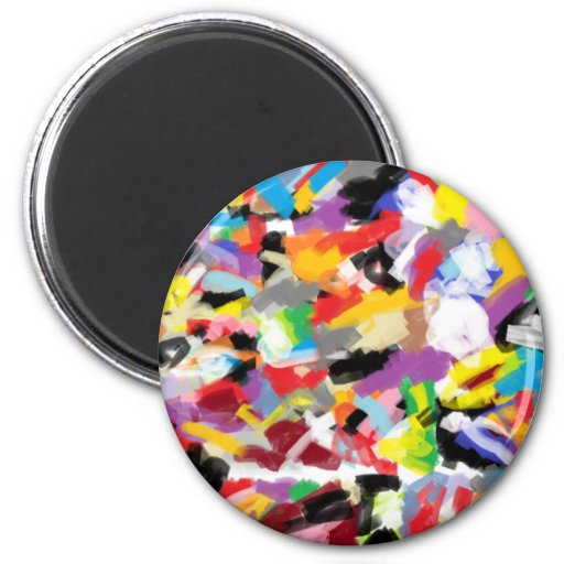 Arte abstracto único imán redondo 5 cm