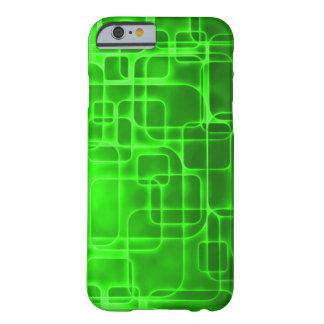 Arte abstracto verde de neón de la energía atómica funda de iPhone 6 barely there