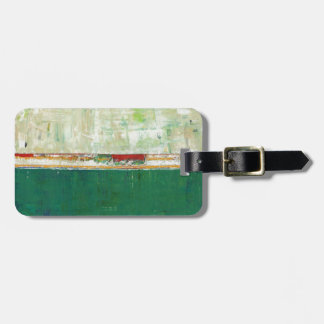 Arte abstracto verde que pinta la quintilla del ir etiqueta de equipaje