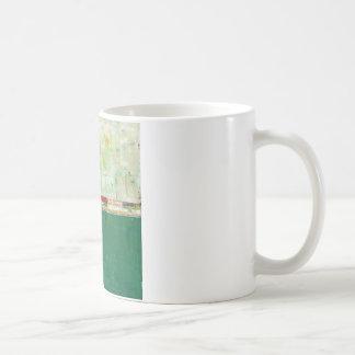 Arte abstracto verde que pinta la quintilla del taza clásica