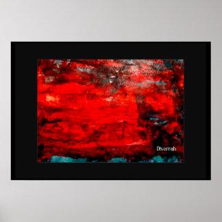 Arte Abstrata - Vermelho/Azul Poster