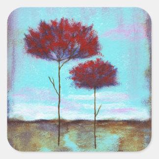 Arte acariciado, abstracto del paisaje, árboles pegatina cuadrada
