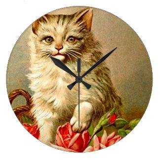 Arte Acryllic moderno de los rosas blancos del gat Relojes