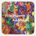 Arte adaptable colorido pegatinas cuadradases