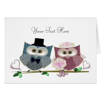 Arte adaptable de los búhos del boda tarjeta de felicitación