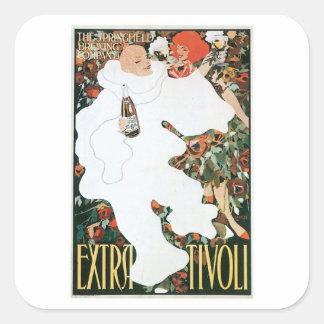 Arte adicional del anuncio de la bebida del vino pegatina cuadradas personalizada
