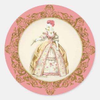 Arte adornado blanco de Marie Antonieta del Pegatina Redonda
